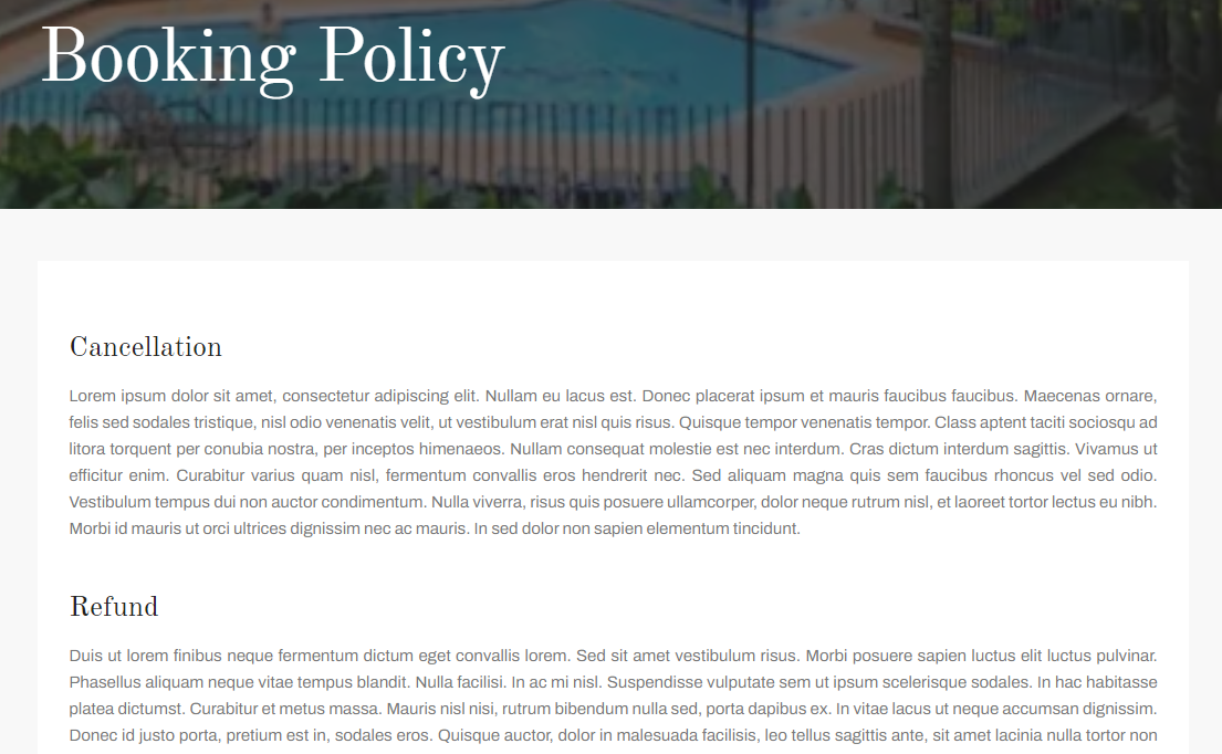 booking policy page myror